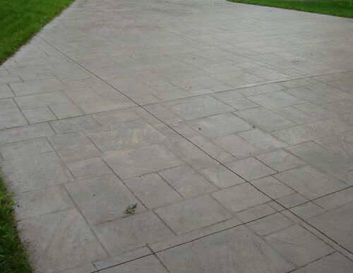 This driveway is stamped with the Ashlar Slate stamp.