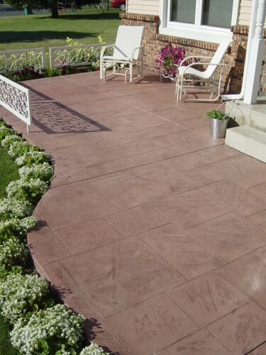 This patio is stamped with the Ashlar Slate stamp.