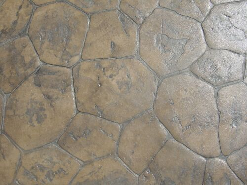 This is a close-up of a patio stamped with the Random Stone stamp.